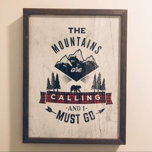 The Mountains Are Calling Wall Art Wood Sign